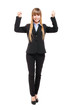 Happy businesswoman full length