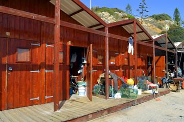 The fishing huts, Senhora Da Rocha Beach in Portugal