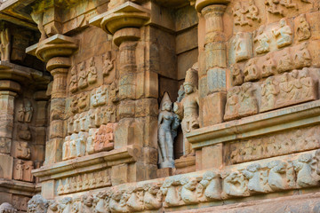 part of wall Great architecture ancient Gangaikonda Cholapuram T