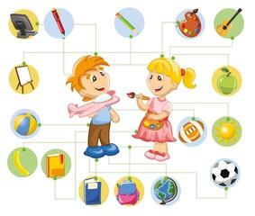 Образование для малыша с иконками мультфильмов