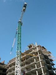 house develop at day with crane