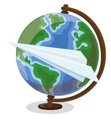 Мультфильм глобус и бумага самолет