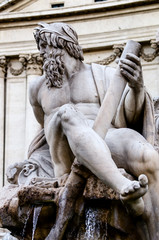 Statue of the god Zeus in Bernini's Fountain , Piazza Navona, Ro