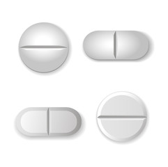 Tablets and pills  set isolated on white background.