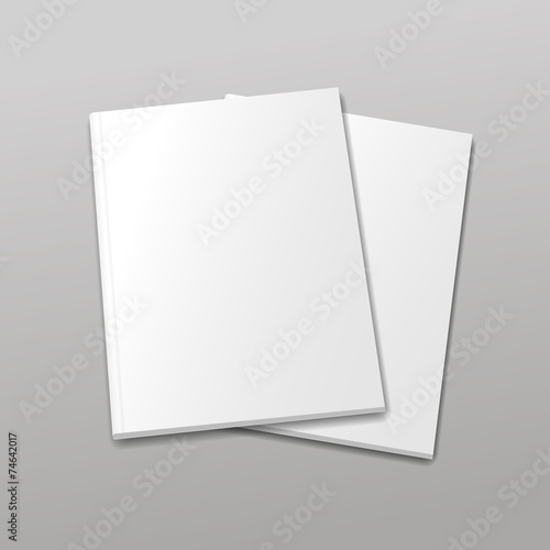 Blank empty magazine or book template  on a gray background. - 74642017