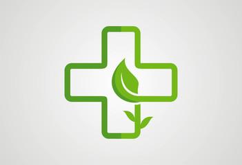 Medical eco logo design vector