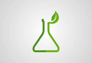 Lab glass ecology leaf logo vector