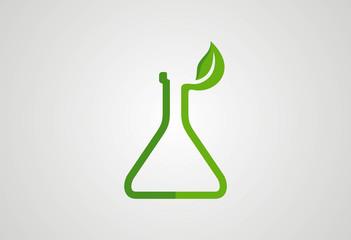 Lab glass ecology leaf logo vector
