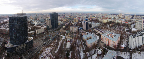 Winter in the Kiev city, aerial view