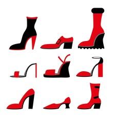 Векторные иконки различных обувь