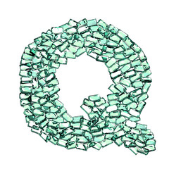 Q lettera smeraldo verde gemme 3d, sfondo bianco
