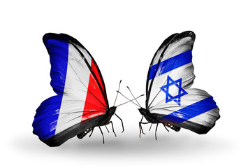 Two butterflies with flags France and Israel