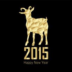 2015 year of goat, modern polygon gold design, vector