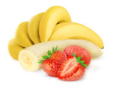Banana and strawberries isolated on white