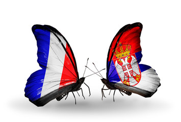 Two butterflies with flags France and Serbia