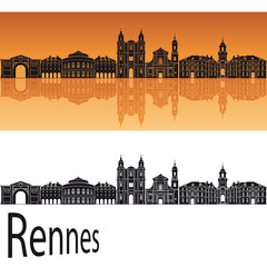 Rennes skyline in orange background