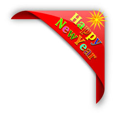 Red corner with the inscription New Year - vector svg