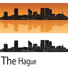 The Hague skyline in orange background