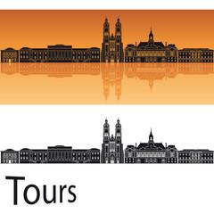 Tours skyline in orange background