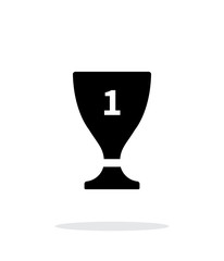 Trophy cup flat vector icon on white background.