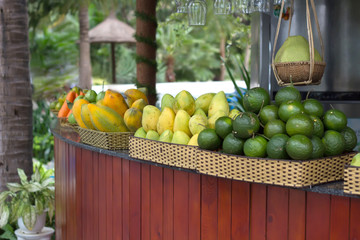 Bar counter with tropical fruit