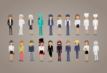 People Of Different Professions Set -Isolated On Gray Background