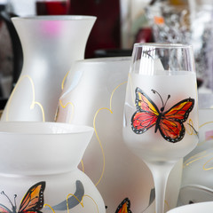 Glass tableware, decorative objects of household