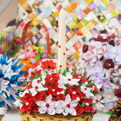 paper flowers with candle