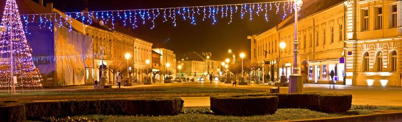 Town of Koprivnica Christmas panorama