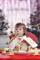 Little girl with pipes