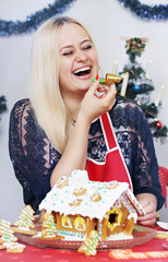 woman with holiday whistle