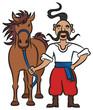 Постер, плакат: Happy Ukrainian Cossack With A Brown Horse