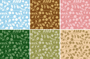 floral patterns with berries - vector set