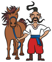 Happy Ukrainian Cossack With A Brown Horse