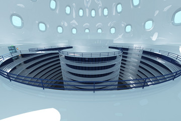 Ultra Modern Futuristic Data Center Illustration 3D artwork