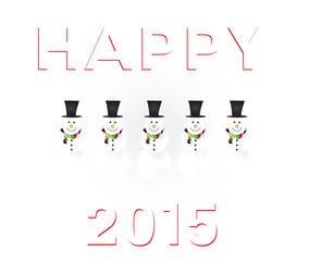 happy 2015 snowman white