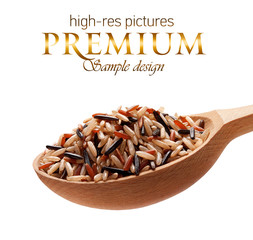 Assorted rice in a wooden spoon  isolated on white background