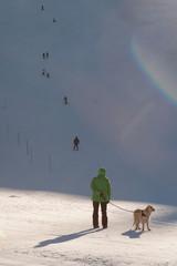 A spasso sulle piste di sci con il cane