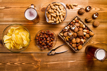 mix of nuts, snacks, chips
