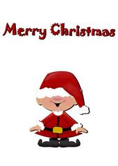 Little santa claus - santas hat is too big -  isolated