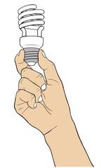 hand with light bulb