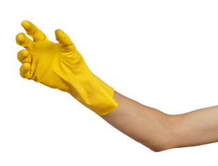 Yellow rubber glove on his hand