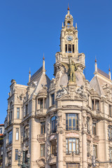 Historic building on the Liberdade square of Porto