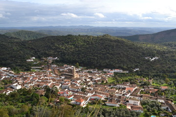 Alajar village in Aracena mountains, Spain