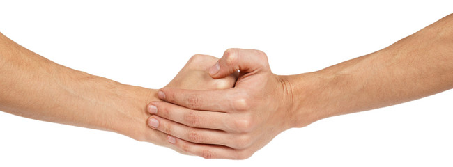 Two clenched male hands