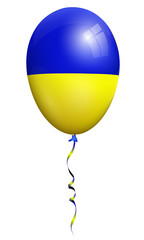 ukraine flag balloon isolated on white background