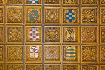 Seville - wooden ceiling in Casa de Pilatos with the arms.