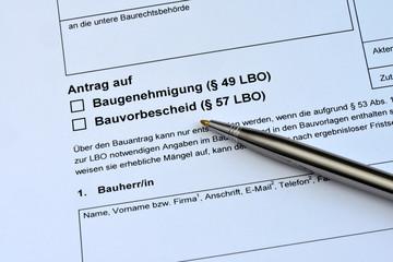 Antrag auf Baugenehmigung, Formular, Bauvorhaben, Bauamt