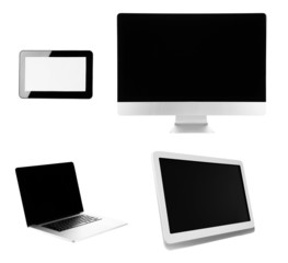 Group of laptop, tablet and phone isolated on white
