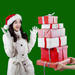Attractive young girl receive presents
